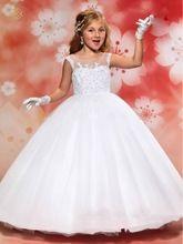 Blanco de Encaje Con Cuentas Vestidos de Niña para Las Bodas 2017 vestido de Bola Piso-Longitud Vestidos Del Desfile de Vestidos de Primera Comunión para Niñas(China (Mainland))