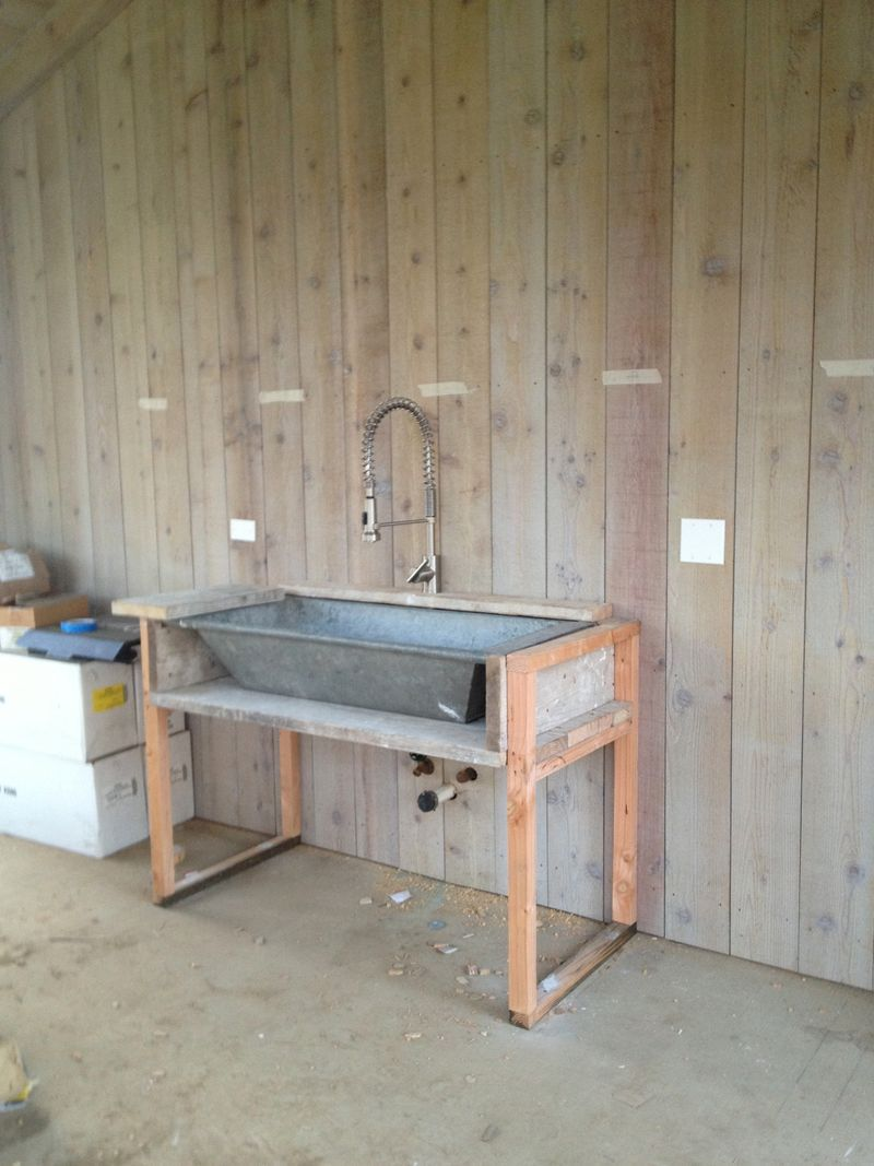 The Danze Stainless Steel Parma Faucet The Galvanized Sink In The Coop Is From Willams Sonoma