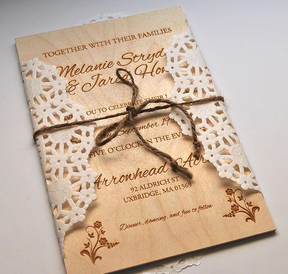 Captivating Laser Engraved Wedding Invitation On Thin Wooden Board.