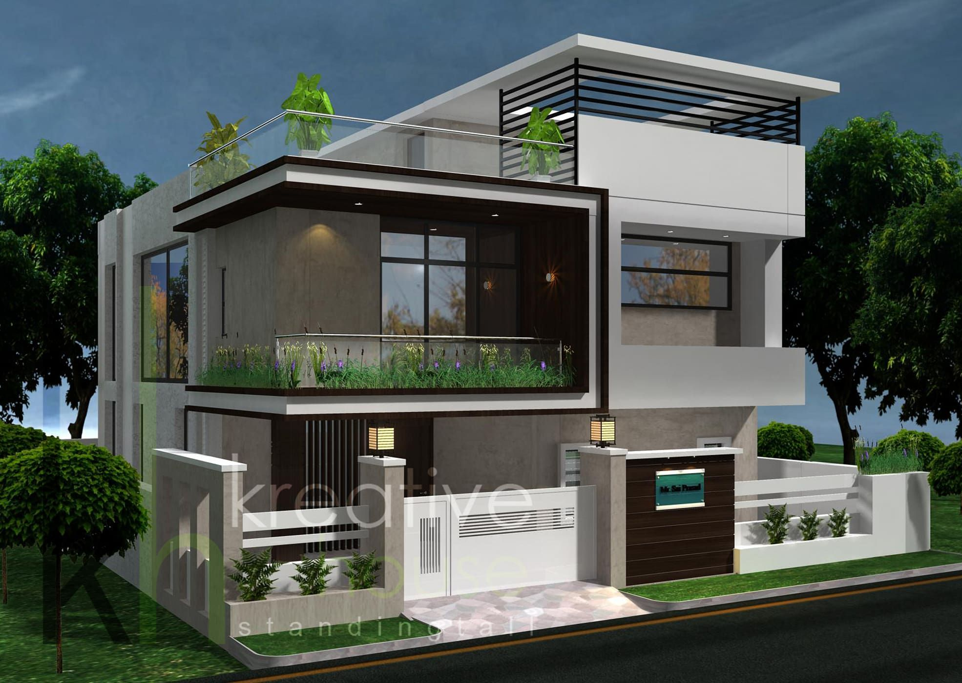 A Modern Home With Artistic Twist Modern Houses By Kreative House Modern Iron Steel Modern House Design Modern House House Design Pictures