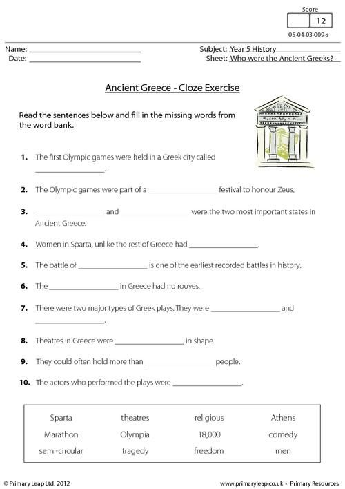 {PrimaryLeapcouk Ancient Greece Cloze activity Worksheet – Ancient Greece Worksheets