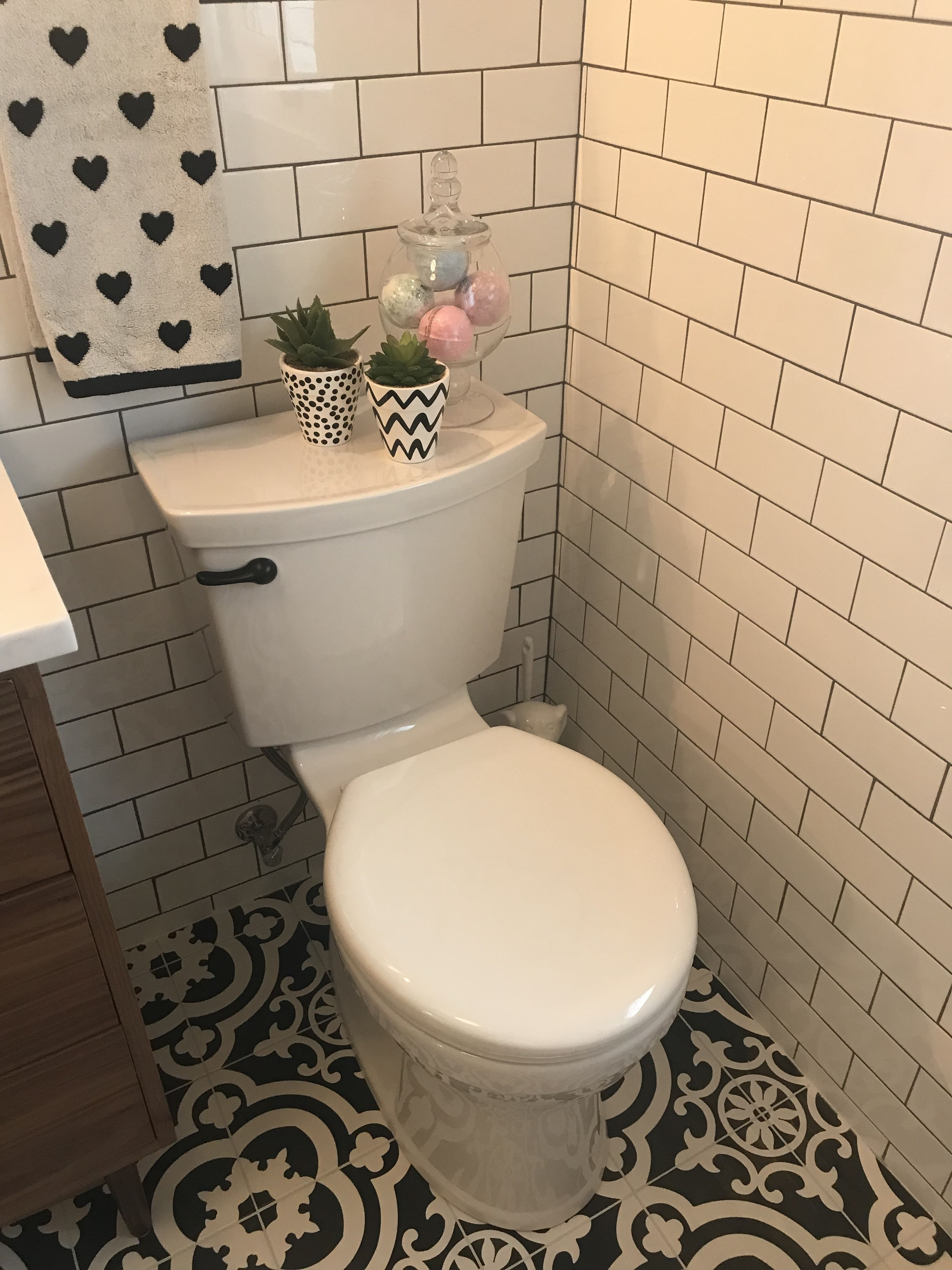 American Standard toilet, Lowe\'s cementina black and white floor ...