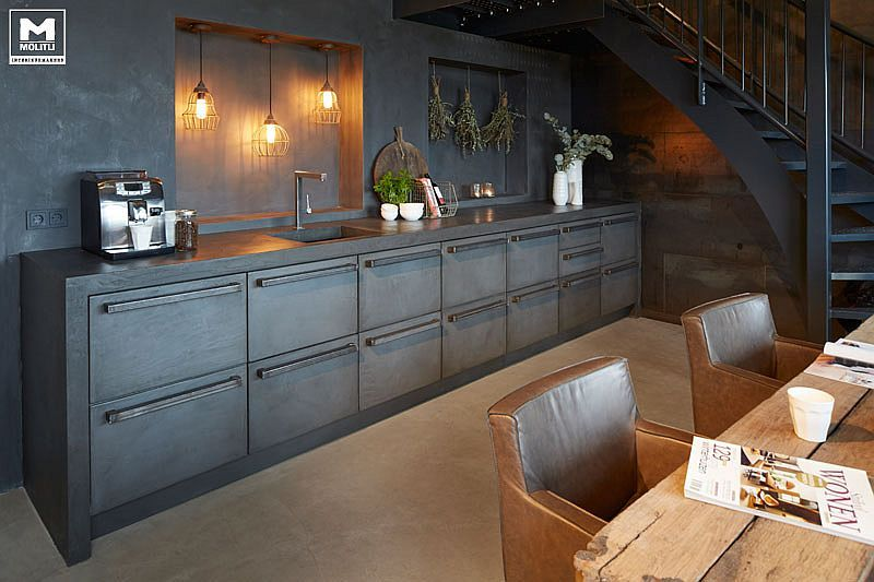 Stylish and robust contemporary kitchen in concrete