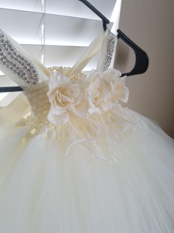 Flower girl tutu dress tulle ivory dress feather flower girl dress