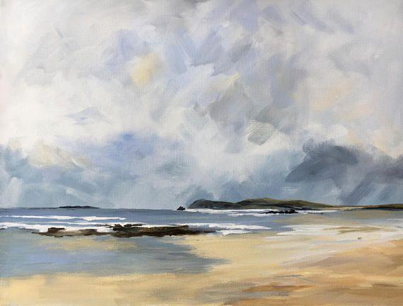 Original Acrylic Seascape Painting On Canvas Spring