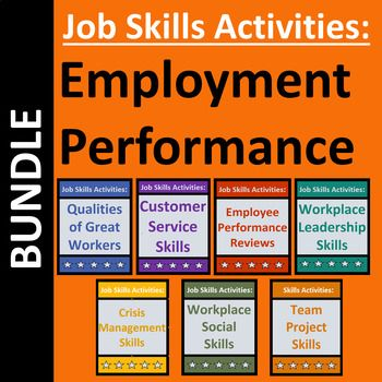 Employment readiness business bundle includes 7 job lessons for CTE or workplace readiness students.