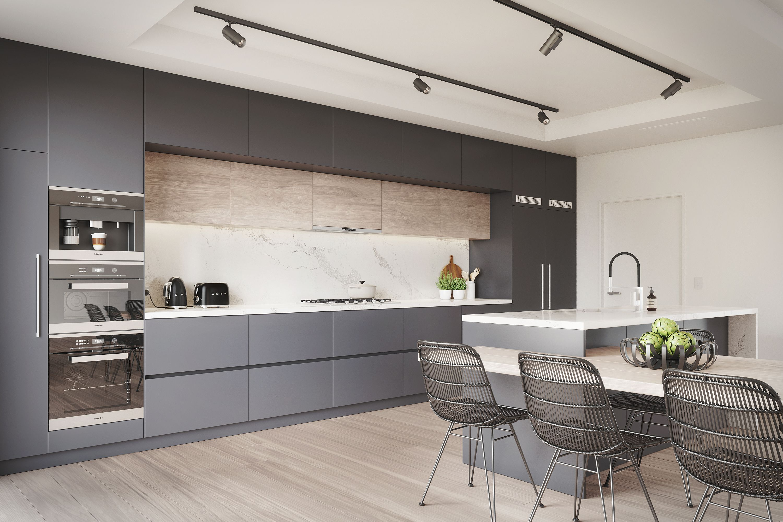 Kitchen Visualisation featuring a Benjamin Moore Black Berry colour ...