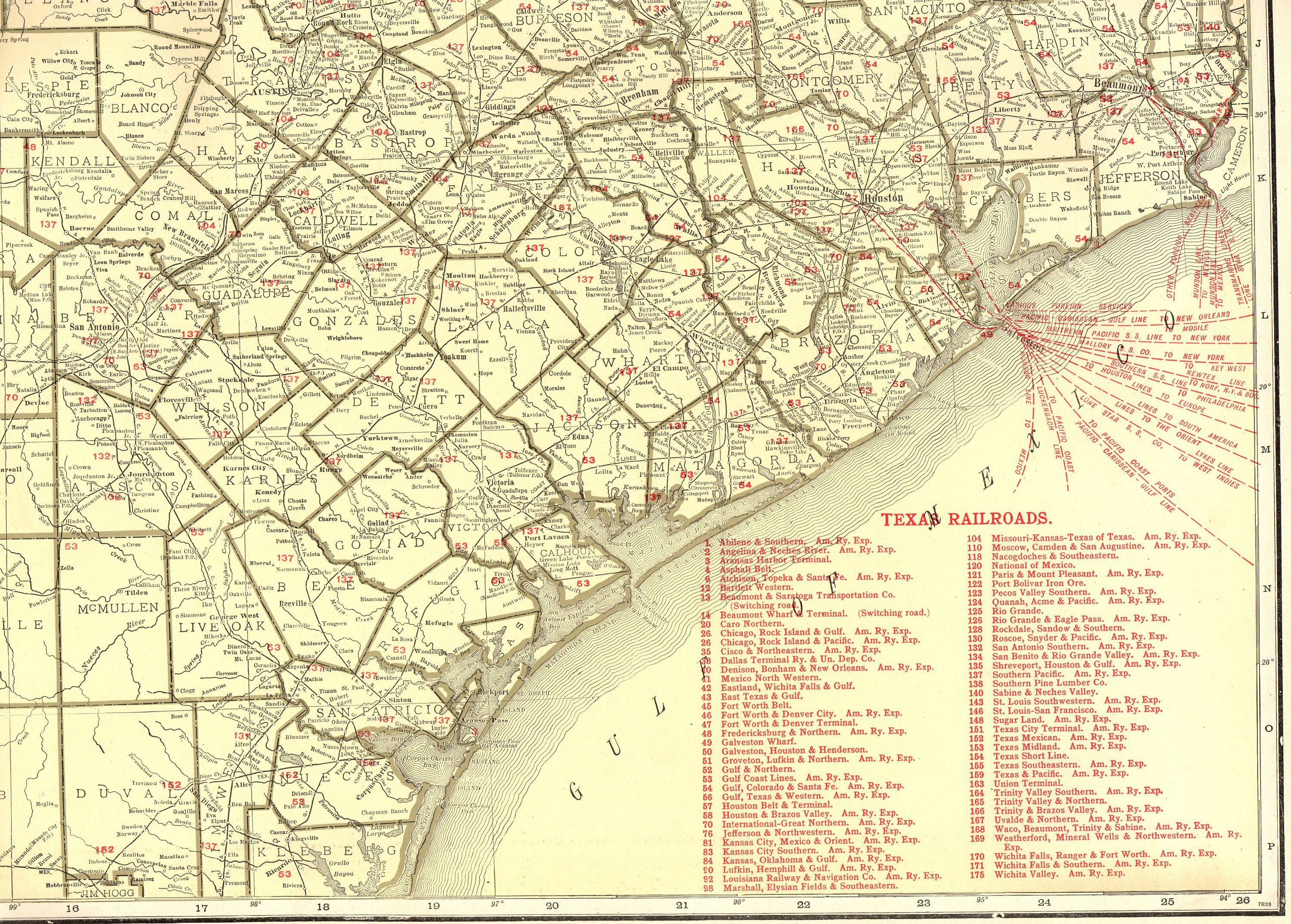 Map Of Texas Railroads.1921 Rare Size Antique Texas State Map Of Texas Poster Size W