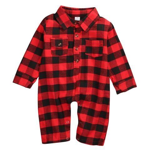 1b86d6264 2017 Newborn Infant Baby Romper Red Plaid Boys Girls Fashion Pocket ...