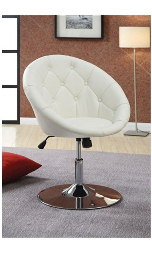 Pleasing Coaster 102583 Round Back Swivel Chair White Best Price Caraccident5 Cool Chair Designs And Ideas Caraccident5Info