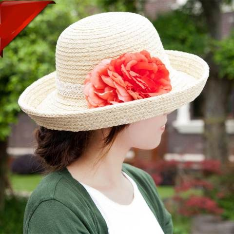 Outdoor wide brim straw hat flower decoration crimping sun hats  4ae2d62294f4