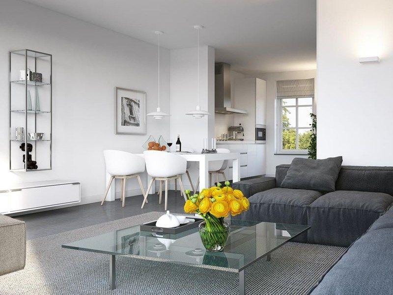 Woonstijl: interieur impressie woonkamer met donkergrijze hoekbank ...