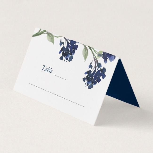 Navy Bohemian Wildflower  Floral Wedding Place Card
