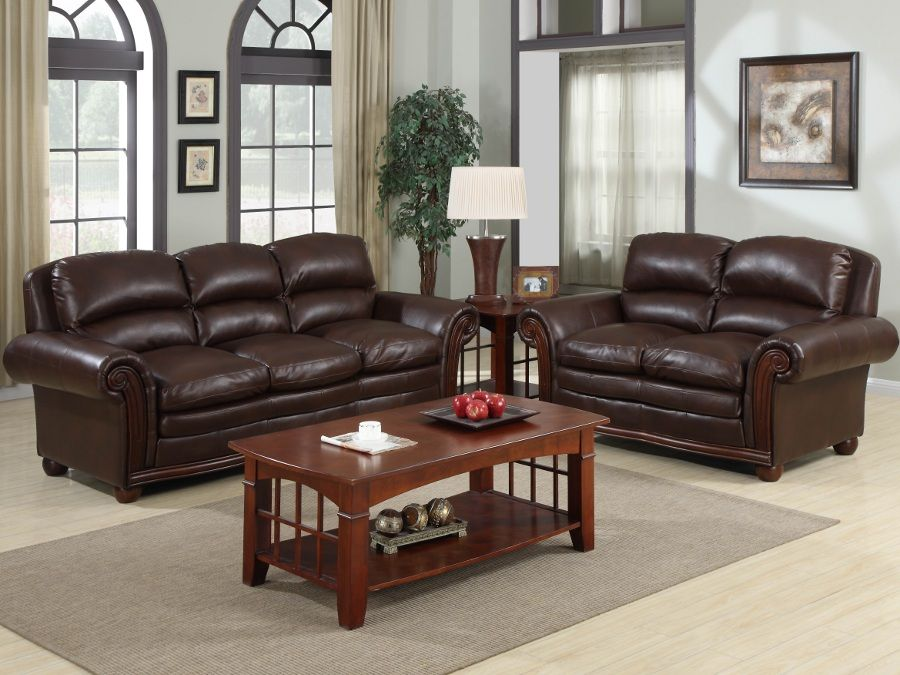 Trojan coffe bonded leather sofa loveseat sofa for Rana furniture living room sets