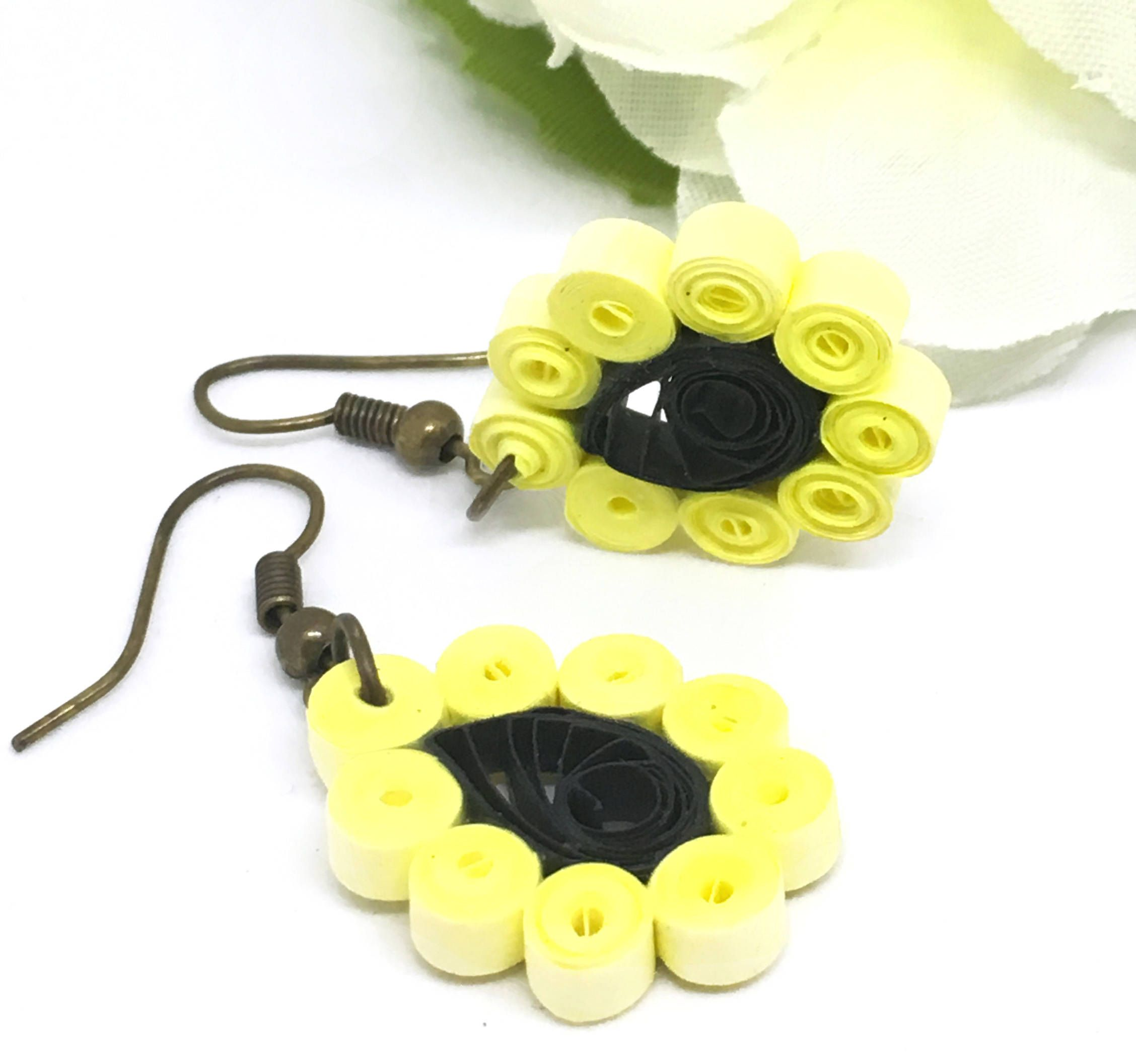 Sunflower quilled earrings paper quilled jewelry flower earrings