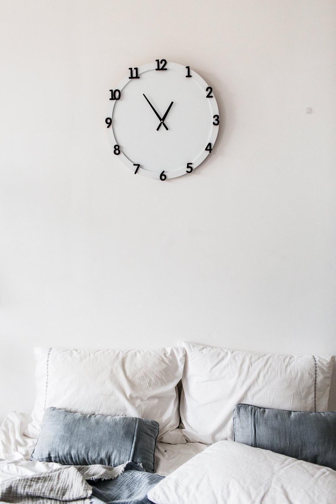 black white silent digits wall clock hygge decor custom on hygge wall decor id=42487