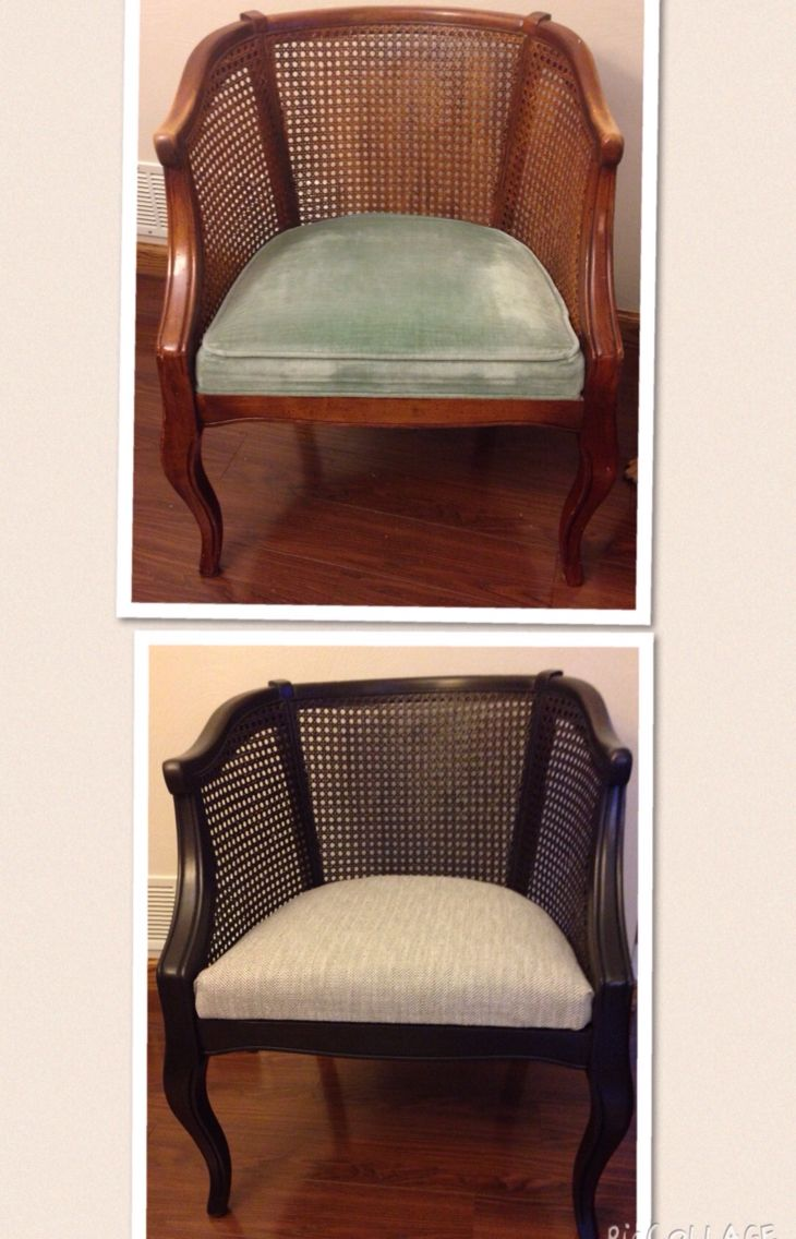 Barrel Cane Chair Makeover Before And After Success Cane Chair Makeover Reupholster Furniture Reupholster Chair Dining