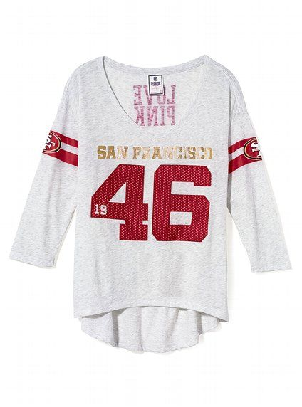 6d367e96 San Francisco 49ers Three Quarter Sleeve Drapey Tee - Victoria's ...