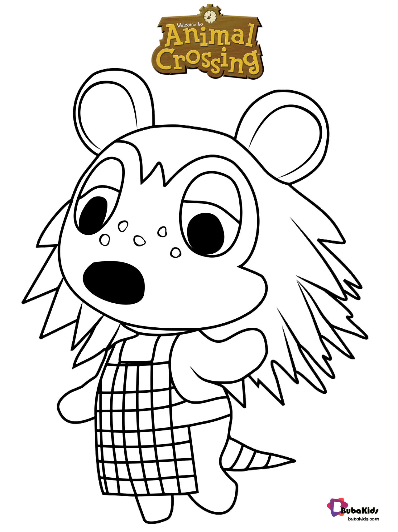 Free Download To Print Sable Animal Crossing Coloring Page For Kids Collection Of Cartoon Color Animal Crossing Fan Art Animal Coloring Pages Animal Crossing