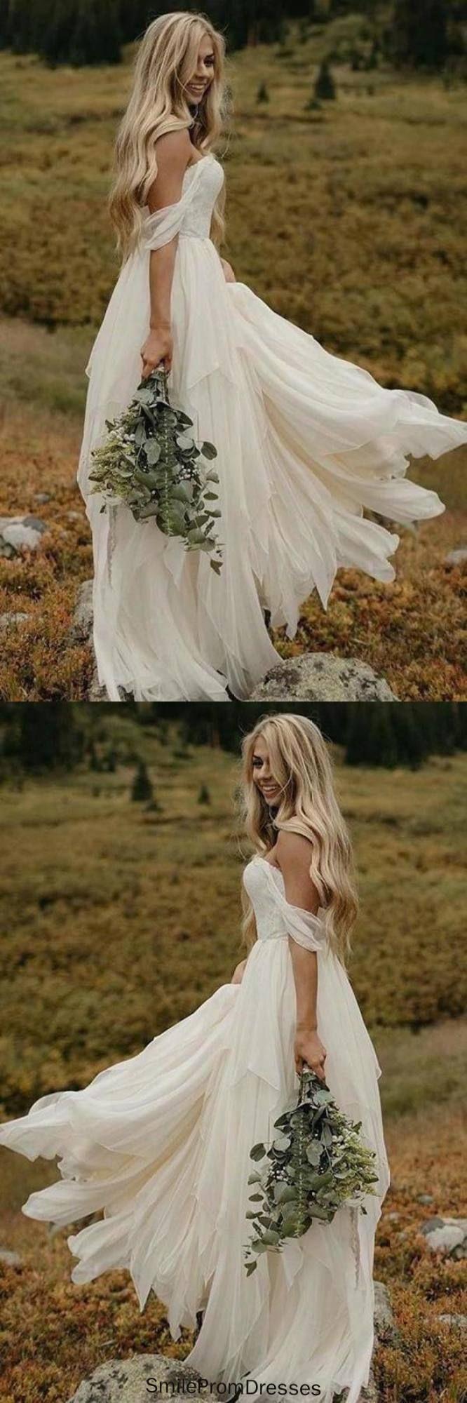 A Line Chiffon Ivory Off the Shoulder Sweetheart Beach Wedding Dresses JS581