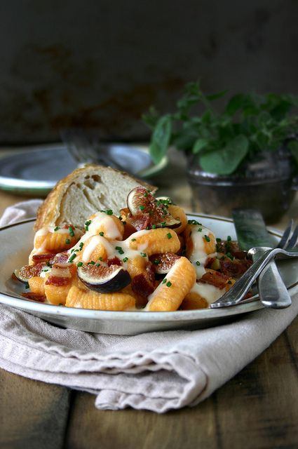 sweet potato ricotta gnocchi with buttermilk mornay, fresh figs, & pancetta by local milk, via Flickr