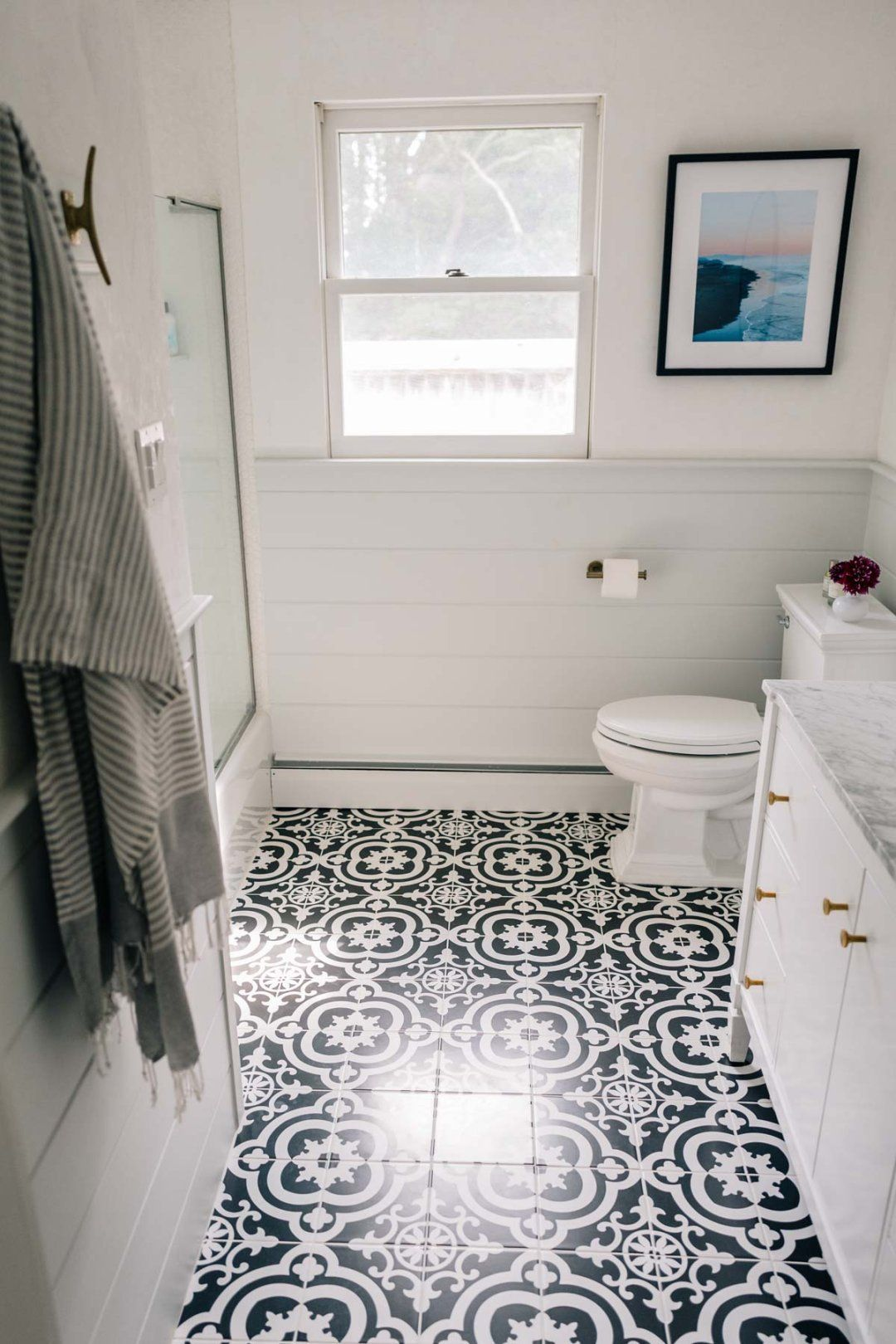 Bathroom Renovation: Reveal Part I | Painted tiles, Tile flooring ...