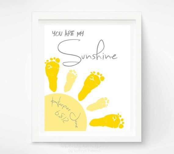 You Are My Sunshine Wall Art Print   Baby Footprint Sun   Gray U0026 Yellow  Nursery