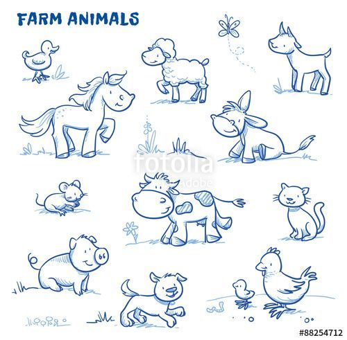 Vektor: Cute cartoon farm animals. duck, horse, sheep, goat, donkey, cow, mouse, pig, dog, cat, chick. Hand drawn doodle vector illustration. #textiledesign