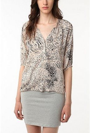 """Urban Outfitters   Silence & Noise Raw Edge Smocked Silk Tunic in """"Black Multi"""" - StyleSays"""