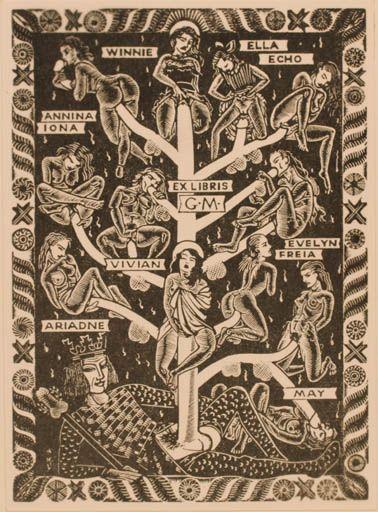 Bookplate By Mark F Severin For Gianni Mantero, 1950 -7059
