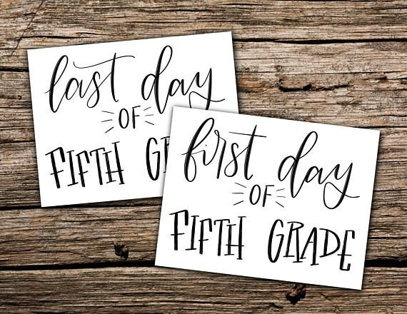 First and Last day of fifth grade printable photo sign ...