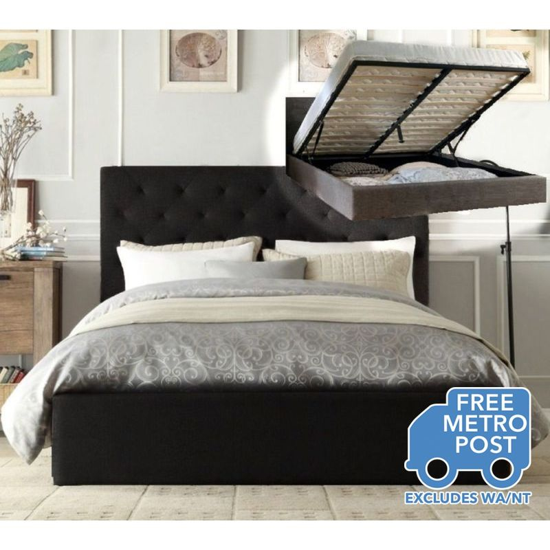 Windsor King Fabric Bed Frame W Gas Lift Charcoal Bed Frame