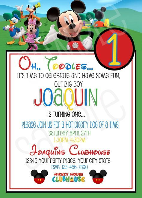 Mickey Mouse Invitations Free Printable  Birthday Party Ideas