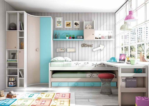 Dormitorio infantil con dos camas y armario rinc n habitaciones infantiles en 2019 pinterest - Habitaciones infantiles con dos camas ...