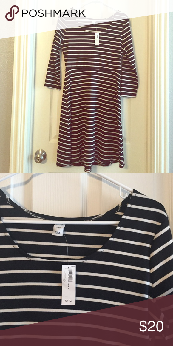 253bc45309 Old Navy striped fit and flare dress Classic black and white stripes. Fitted  bodice and flared skirt are really flattering! Loops for belt but no belt  ...