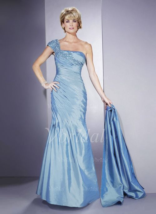Mother of the Bride Dresses - $152.89 - Trumpet/Mermaid One-Shoulder Sweep Train Taffeta Mother of the Bride Dress With Beading Appliques Lace (00805007717)