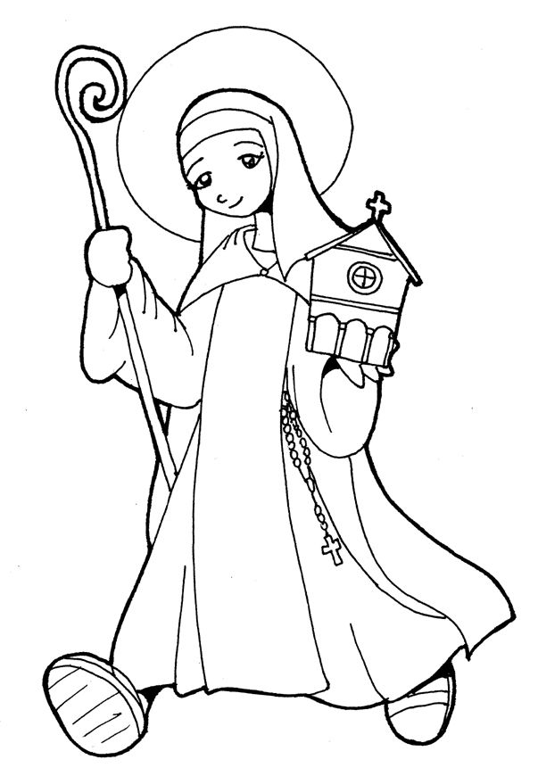 Another Catholic Coloring Page of St. Teresa of Avila