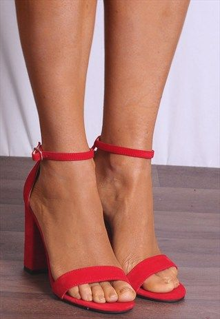 RED BARELY THERE STRAPPY OPEN TOE SANDALS HIGH HEELS-SHOE CLOSET