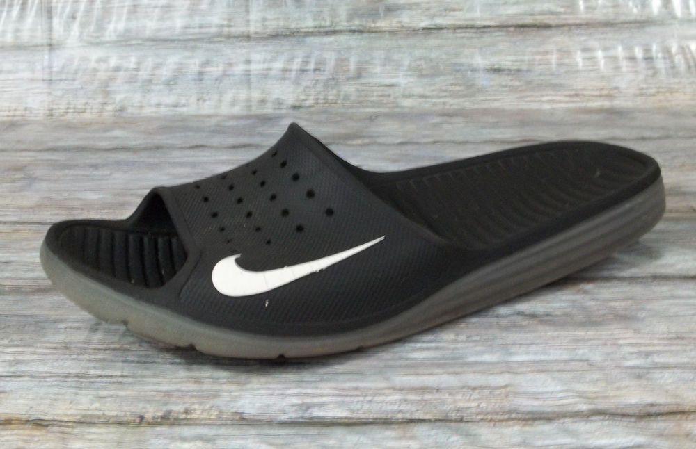 09a9f6a59e7ed1 Nike Swoosh Logo Sandals Mens Size 12 M Black Slides Shoes  Nike  Slides