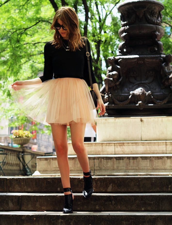 black top peach sheer skirt black booties