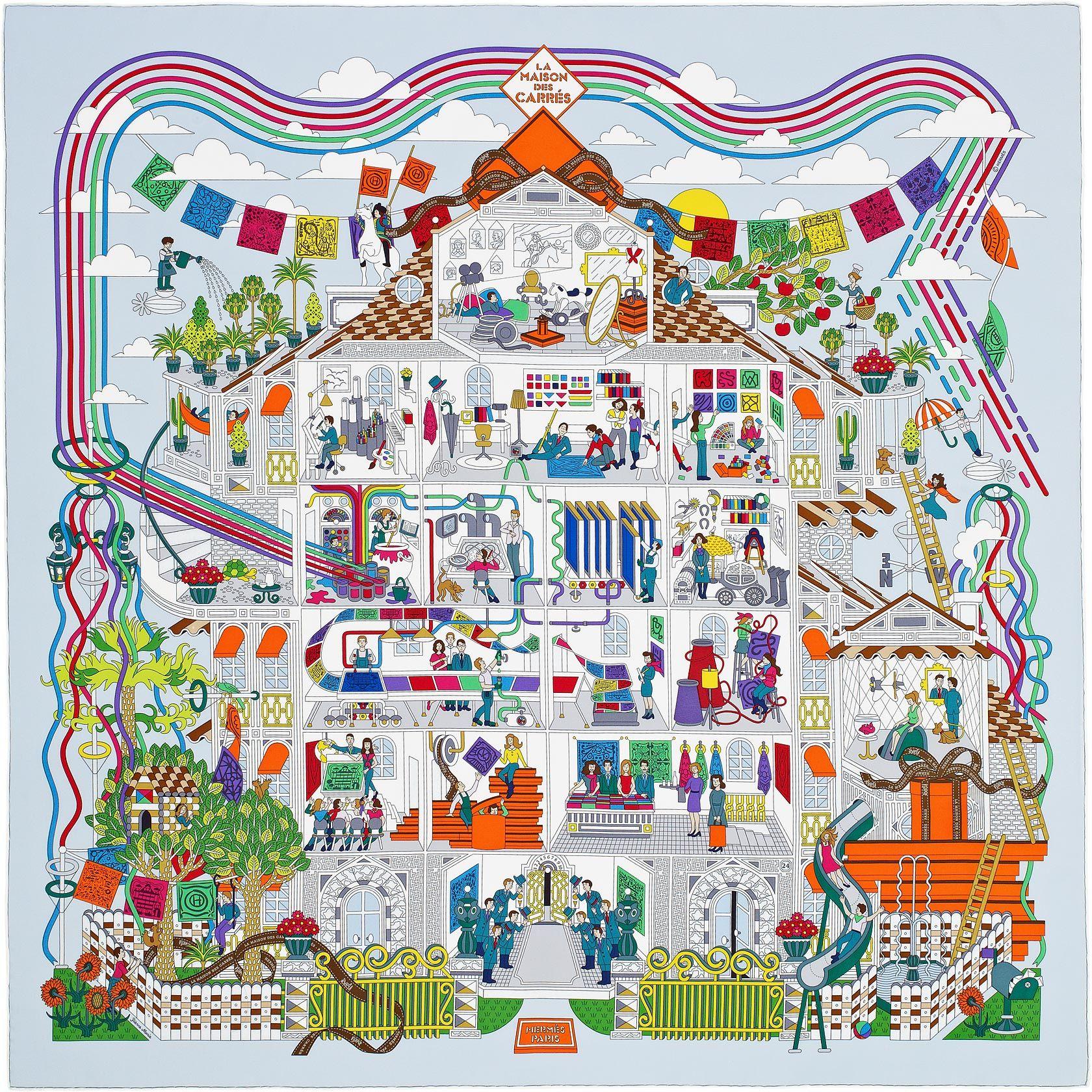 """36"""" x 36"""" scarf Hermès   La Maison des Carrés La Maison des Carrés Hermes  silk twill scarf, hand rolled, 36"""