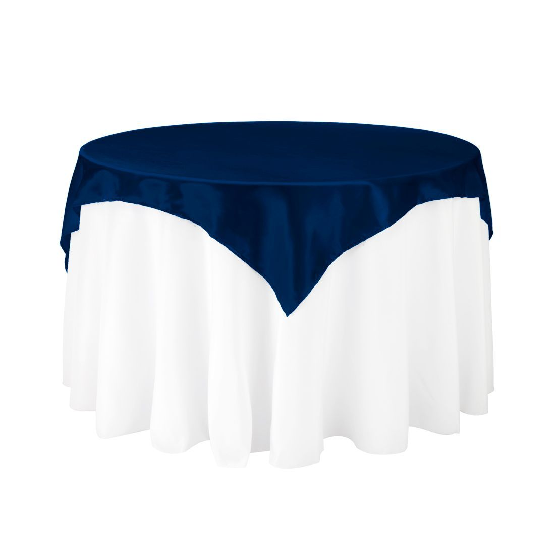 60 In Square Satin Overlay Navy Blue Table Overlays Table