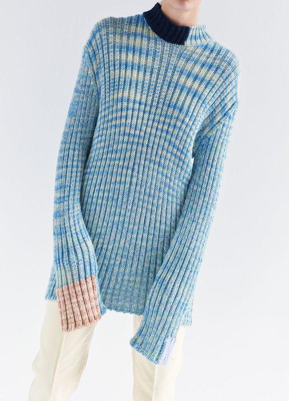 Long Sleeves Sweater in Melange Cotton Blend - Céline