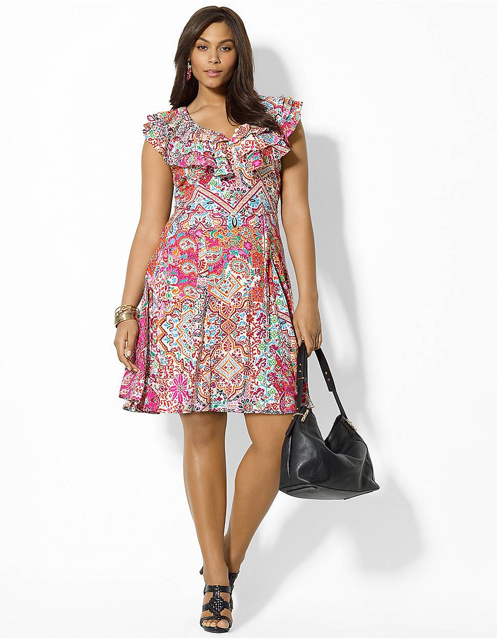 Plus Ruffled Paisley Cotton Dress | Lord and Taylor | Plus ...