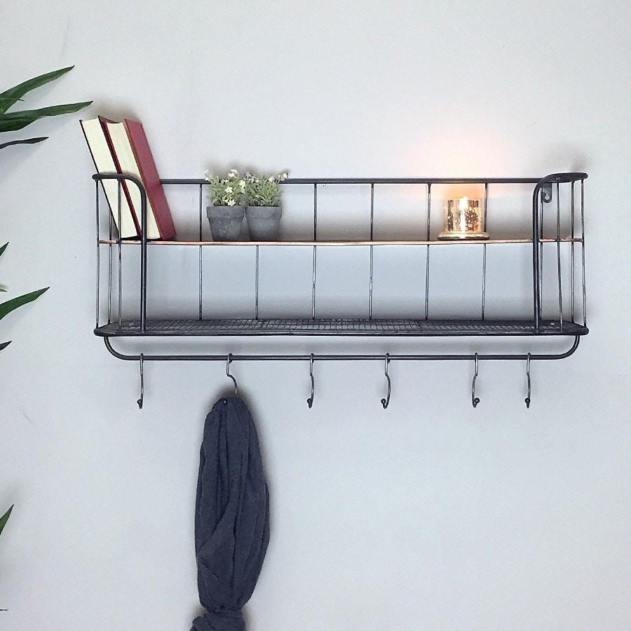 Industrial Wall Shelf with Hooks | My Bathroom | Pinterest ...