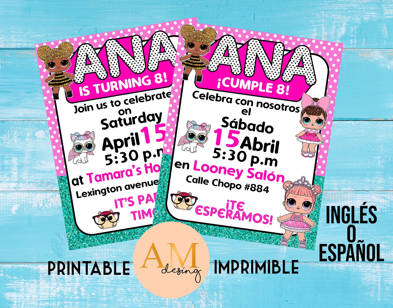 LOL surprise invitation / Invitación LOL surprise | Invitaciones, Tarjetas  de invitación, Imprimible