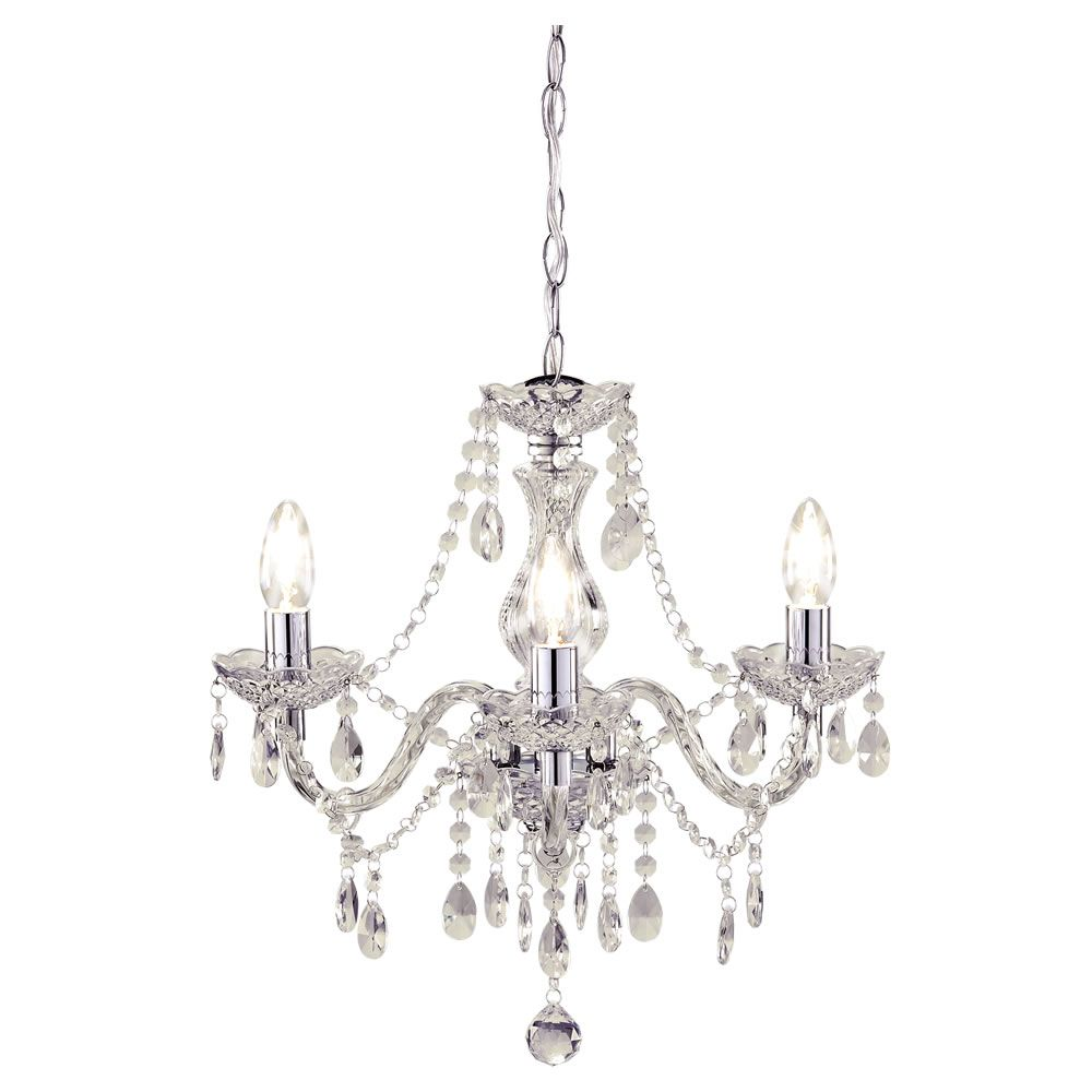 Wilko Marie Therese Chandelier 3 Arm Clear