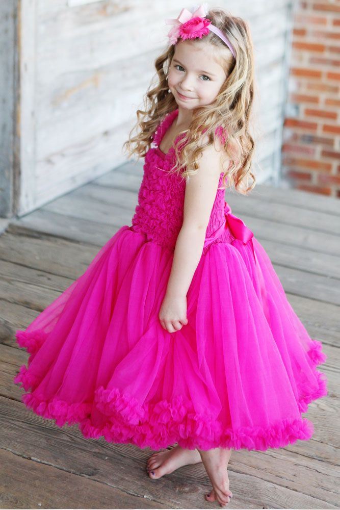 7260ea08c She will have an extra spring in her step in this ravishing, raspberry petti  dress