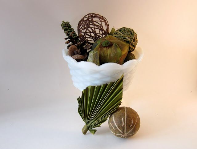 Rustic And Classic Natural Vase Fillers In Milk Glass Living