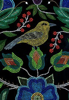 Metis Beading I Love The Flowers Traditional Dot Art Painting